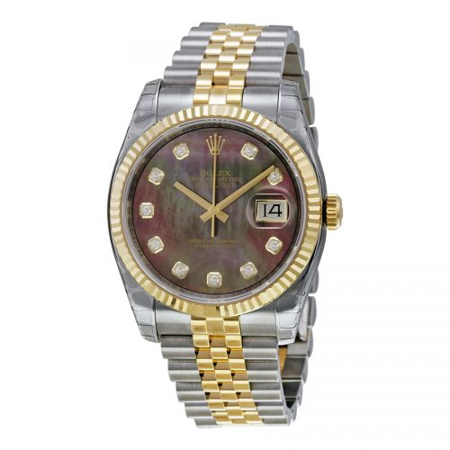 Rolex Oyster Perpetual Datejust 36 Black Mother of Pearl Dial Stainless Steel and 18K Yellow Gold Rolex Jubilee Automatic Mens Watch 116233BKMDJ