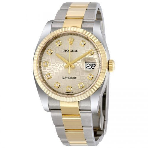 Rolex Oyster Perpetual Datejust 36 Silver Jubilee Dial Stainless Steel and 18K Yellow Gold Rolex Oyster Automatic Mens Watch 116233SJDO