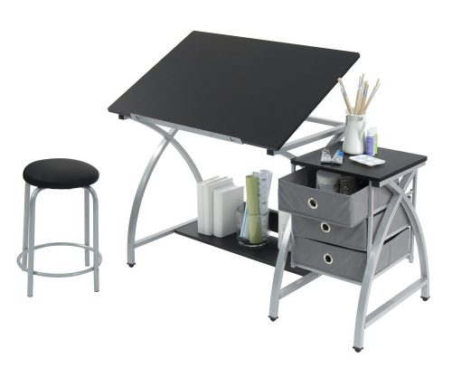 STUDIO DESIGNS Comet Center with Stool Silver Black 13325