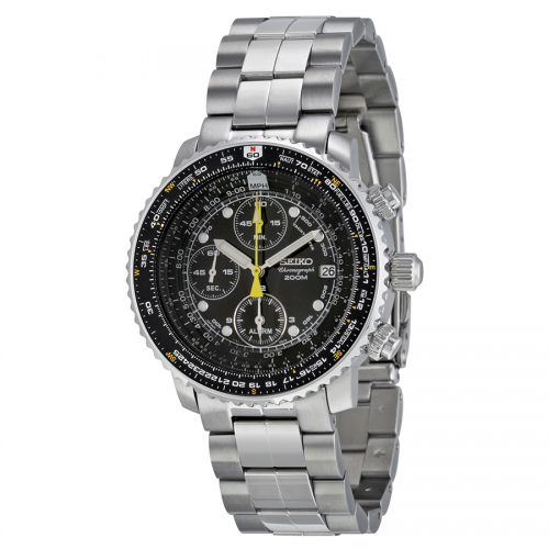 Seiko Men's SNA411 Flight Alarm Chronograph Watch
