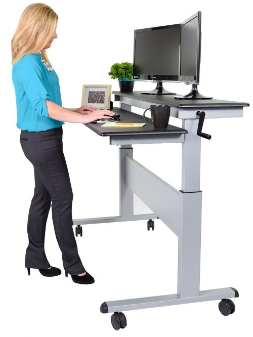 Stand Up Desk Store 60 Crank Steel Adjustable Sit to Stand Up Desk, Black Shelves Silver Frame
