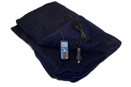 Trillium Worldwide Car Cozy 2 12-Volt Heated Travel Blanket (Navy, 58 x 42)
