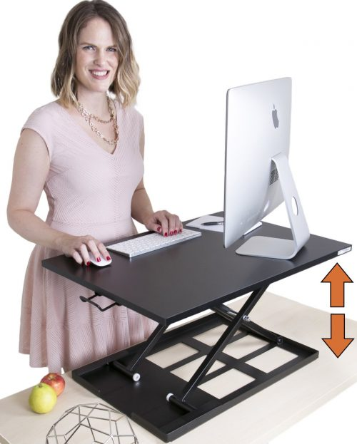 X-ELITE PRO Height Adjustable Sit Stand Desk - Converts your Existing Desk into a Standing Desk (Black)