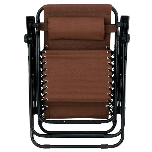 Bellezza© 2-Pack Zero Gravity Chairs Patio Lounge Cup Holder Utility Tray (Brown)