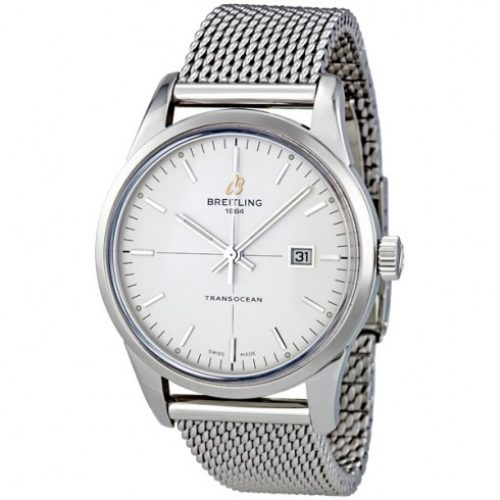 Breitling Transocean Mercury Silver Dial Automatic Stainless Steel Mens Watch A1036012 G721