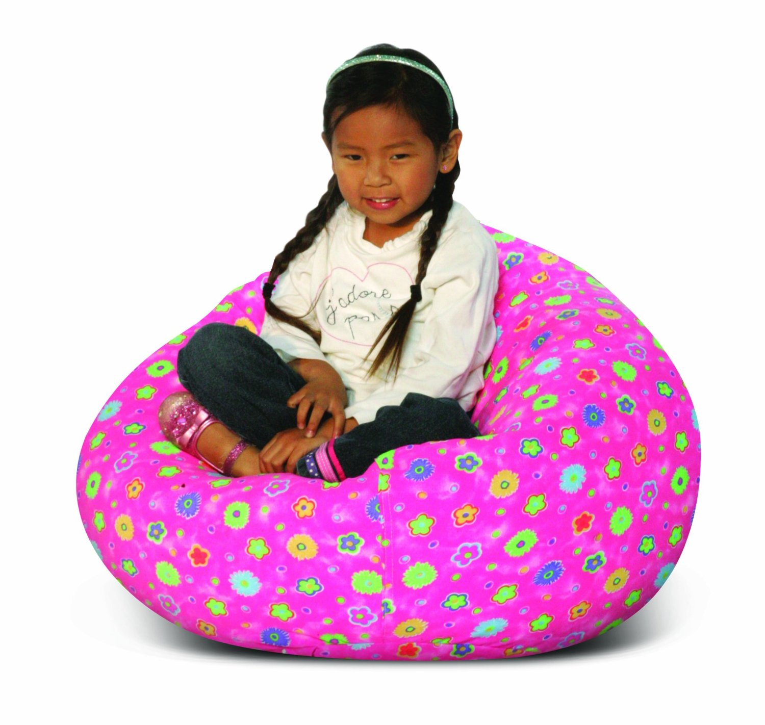 Childu0027s Print Collection (Pink Flower) Jr. Child Bean Bag Chairs for Kids ...  sc 1 st  JonsGuide & Top 10 Best Bean Bag Chairs for Kids Reviews - (2018)
