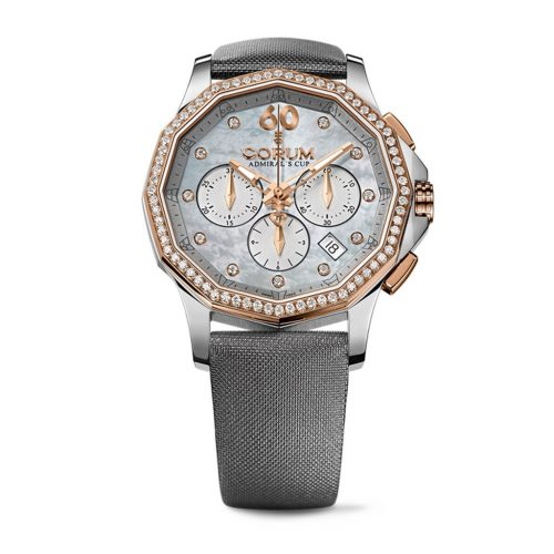 Corum 132.101.29-F149 PK10 38mm Diamonds Automatic 18K Gold Case Grey Satin Anti-Reflective Sapphire Women's Watch