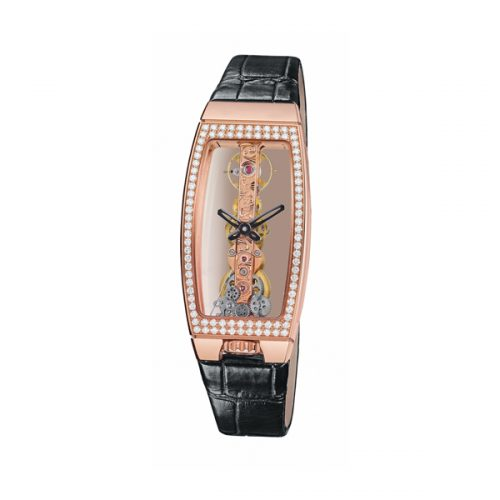 Corum Bridges Miss Golden Bridge 113.102.85 0001 0000 Diamonds Automatic Rose Gold Case Black Leather Anti-Reflective Sapphire Women's Watch