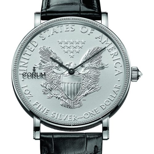 Corum Men's Silver Coin 50th Anniversary Limited Edition 43mm Crocodile Leather Band Automatic Watch 082.645.01 0001 MU53