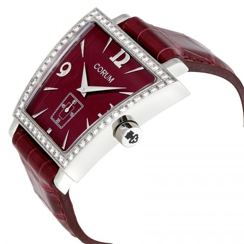 Corum Trapeze Burgundy Leather Diamond Ladies Watch 106.404.47 0012 DP51