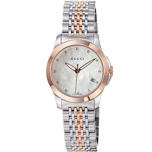7ff6c98bfc7 Gucci Women s YA126514 G-Timeless Two-Tone Stainless Steel Watch with Link  Bracelet