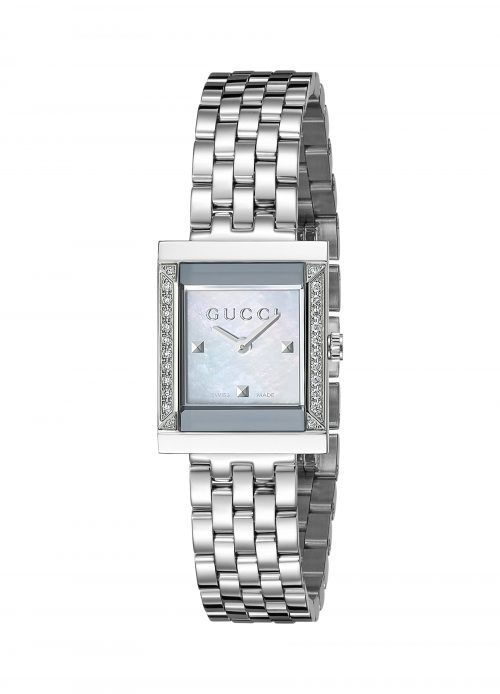 Gucci Women's YA128405 G Frame Timeless Stainless Steel B26 Square Shape Dress Watch