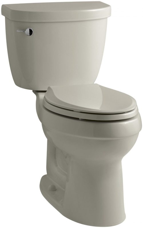 KOHLER K-3589-G9 Cimarron Comfort Height Elongated 1.6 gpf Toilet with AquaPiston Technology, Less Seat, Sandbar