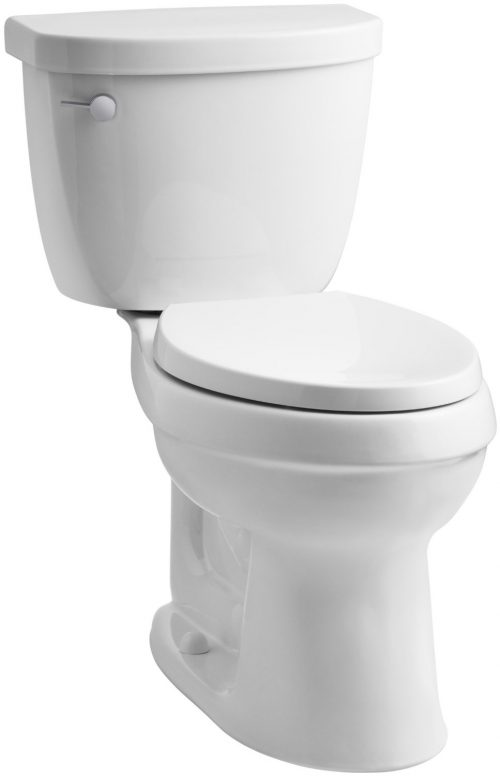 KOHLER K-3609-0 Cimarron Comfort Height Elongated 1.28 gpf Toilet with AquaPiston Technology, Less Seat, White