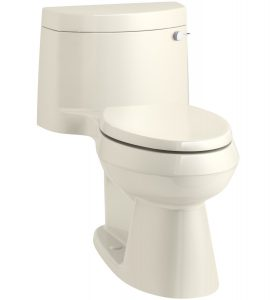 KOHLER K-3619-RA-47 Cimarron Comfort Height One-Piece Elongated 1.28 GPF Toilet with AquaPiston Flush Technology, Concealed Trapway, and Right-Hand Trip Lever, Almond