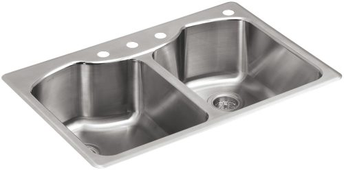 KOHLER K-3842-4-NA Octave Top-Mount Double-Equal Bowl Kitchen Sink with 4 Faucet Holes, Stainless Steel
