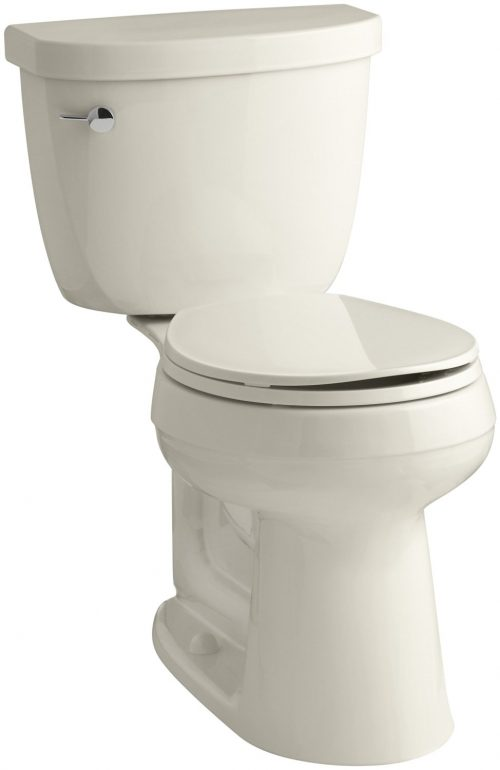 KOHLER K-3888-47 Cimarron Comfort Height Two-Piece Round-Front 1.6 GPF Toilet with AquaPiston Flush Technology and Left-Hand Trip Lever, Almond