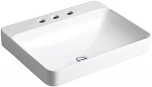 Kohler K-2660-8-0 Vox Rectangle Vessel with Faucet Deck, White