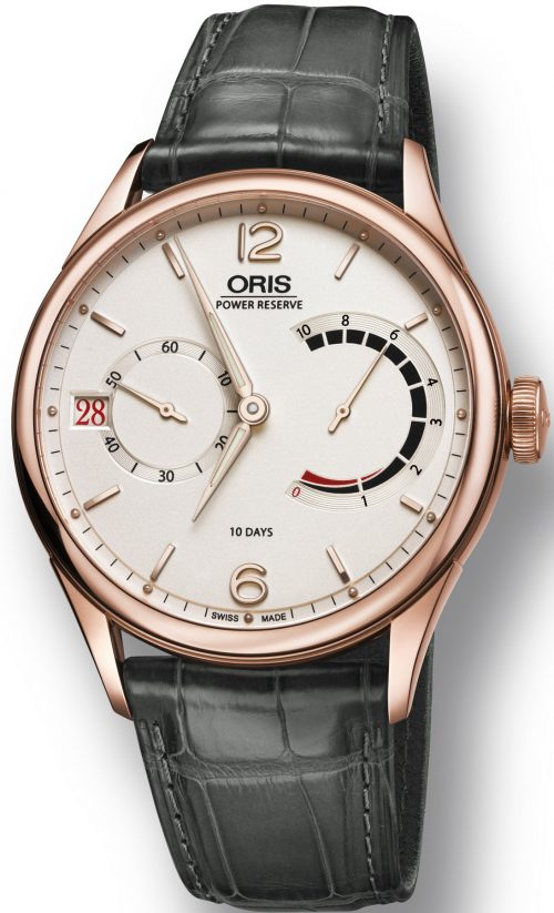 Oris Artelier Calibre 111Rose Gold White Dial Mens Watch 01 111 7700 6061-Set