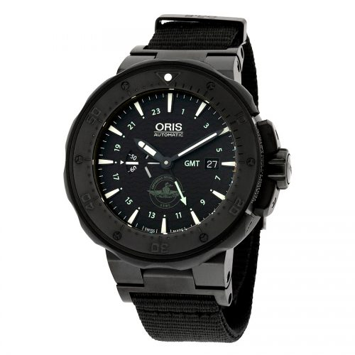 Oris Men's Force Recon Gmt Swiss Automatic Titanium and Rubber Dress Watch, Color Black Model 74777157754SET