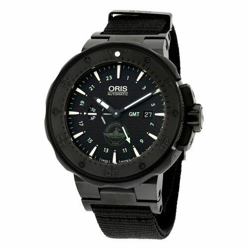 Oris Men's Force Recon Gmt Swiss Automatic Titanium and Rubber Dress Watch, Color Black Model 74777157754SET