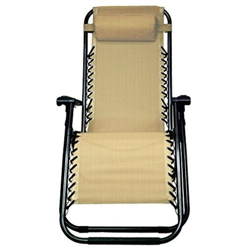 SEMI-ANNUAL BLOW OUT SALE!!! PARTYSAVING Infinity Zero Gravity Outdoor Lounge Patio Pool Folding Reclining Chair APL1060, Tan