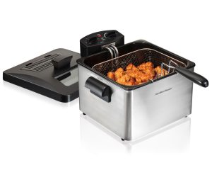 Secura 4.2L 17-Cup 1700-Watt Stainless-Steel Triple-Basket Electric Deep Fryer, with Timer Free Extra Odor Filter