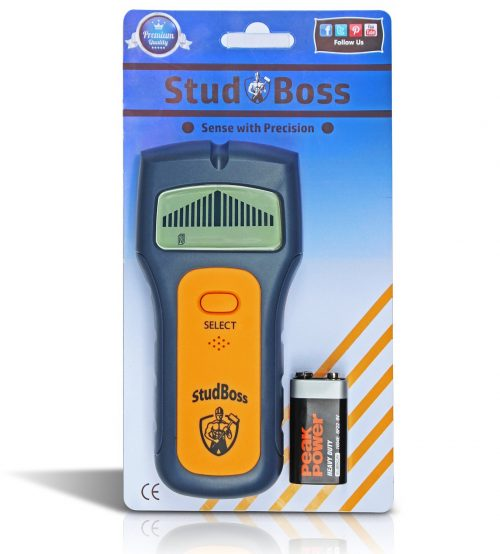 StudBoss Digital LCD Stud Finder - Easy To Use - Bonus Video Guide - 9 Volt Battery Included - Scanner for Wall Studs, Ac Wires and General Metals - DIY Essential Tool