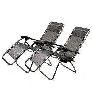 XtremepowerUS Zero Gravity Chair Adjustable Reclining Chair Pool Patio Outdoor Lounge Chairs w Cup Holder Set of 2(Gray)