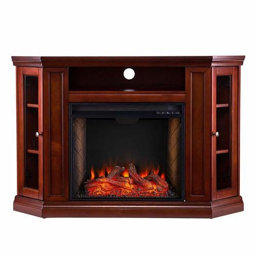 Southern Enterprises Claremont Alexa-Enabled Smart Corner Fireplace with Storage Brown Mahogany