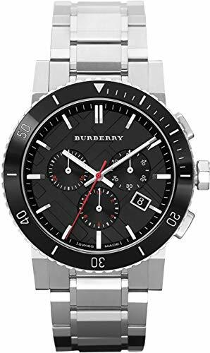 BURBERRYS the City Swiss Chronograph Stainless Steel Black Ceramic Bezel Gray Date Dial Men Watch BU9380