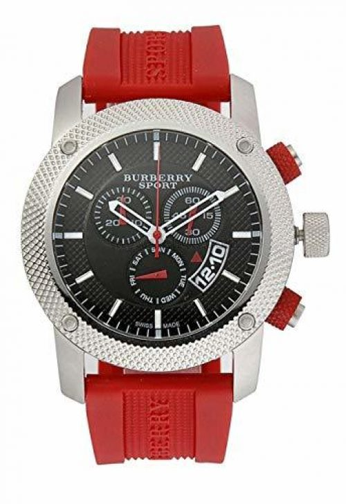 Burberry Sport Chronograph Black Dial Red Rubber Mens Watch BU7706