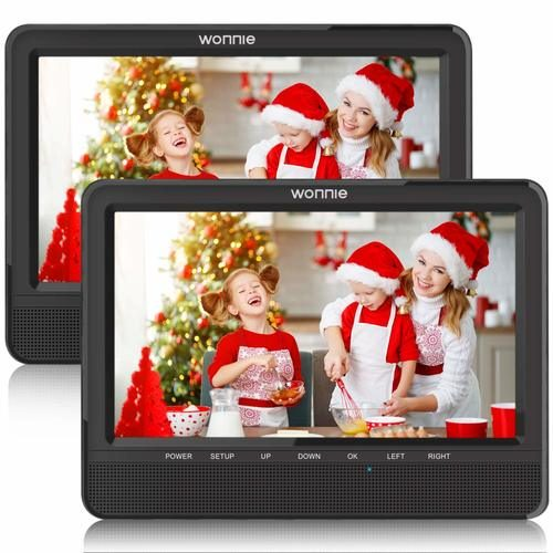 "WONNIE 9.5"" Dual Car DVD Player — Standard Dual Screen Car DVD Players for Headrest"