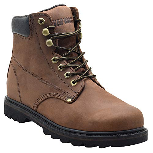 EVER BOOTS Tank Men's Soft Toe Oil Full Grain Leather Insulated Work Boots Construction Rubber Sole