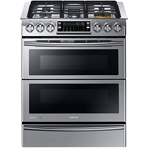 Samsung Appliance NY58J9850WS Slide-in with Dual-Fuel Range and 5 Gas Burners