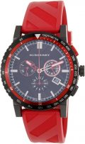 Burberry Black Dial SS Red Rubber Chronograph Quartz Men's Watch BU9805