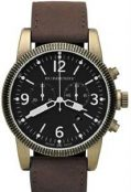BURBERRY Men's Stainless Steel Case Black Dial Chronograph Brown Leather Strap Date...