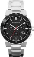 BURBERRYS the City Swiss Chronograph Stainless Steel Black Ceramic Bezel Gray Date...