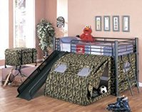 Coaster Kid's Oates Lofted Bed with Slide and Tent, Twin Size