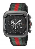 Gucci Men's YA131202 Coupe Black Stainless Steel Watch with Striped Nylon Strap