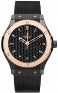 Hublot Classic Fusion Black Carbon Fiber Dial Rose Gold Black Rubber Mens...