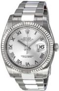 Rolex Perpetual Datejust Rhodium Dial Stainless Steel 18kt White Gold Mens Watch...