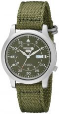 Seiko Men's SNK805 Seiko 5 Automatic Stainless Steel Watch with Green Canvas...