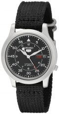 Seiko Men's SNK809 Seiko 5 Automatic Stainless Steel Watch with Black Canvas...