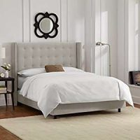 Skyline Furniture Nail Button Tufted Wingback King Bed in Velvet Light Grey